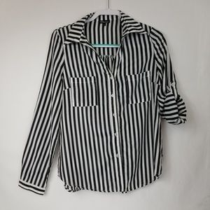 Countess Black and White striped shirt size L